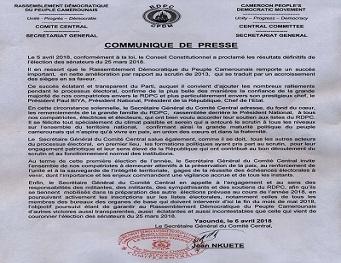 Communiqué de Presse du Secrétaire Général du Comité Central du RDPC