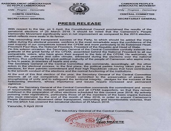 Press Release of the Secretary General of the Central Committee of CPDM